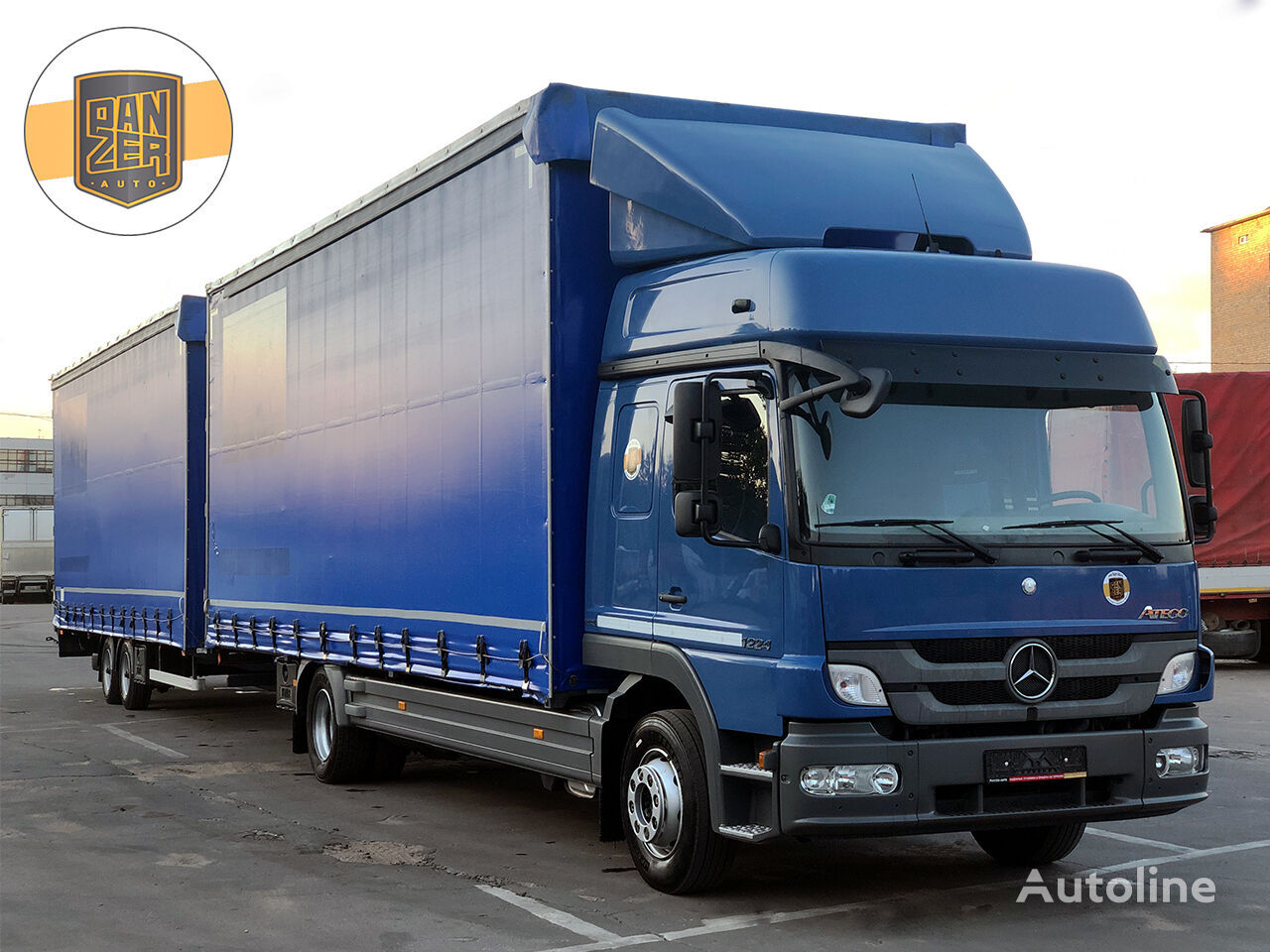MERCEDES-BENZ ATEGO 1224, avtopoezd 120m3 kamion sa klizna zavesa cerada + prikolica sa kliznom ceradom