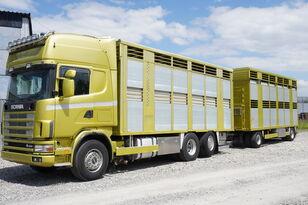 SCANIA R164 V8 , 6x2 , 2 hydraulic decks , 70m2 , live stock  kamion za prevoz stoke + prikolica za prevoz stoke