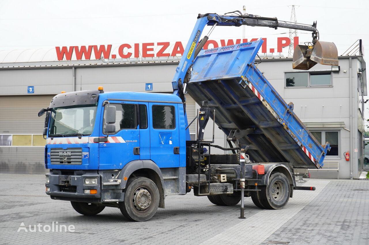 MAN TGM 18.240 , DOKKA 7 seats , A/C , tipper + crane PK , grapple + kiper